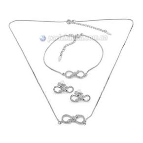 Набор: цепочка, кулон, браслет, серьги (Xuping)