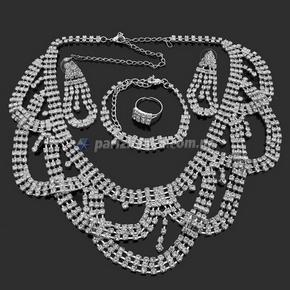 Набор: колье, серьги, браслет, кольцо